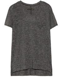 dunkelgraues T-Shirt mit Rundhalsausschnitt