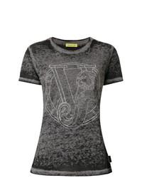 dunkelgraues T-Shirt mit einem Rundhalsausschnitt von Versace Jeans