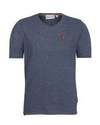 dunkelgraues T-Shirt mit einem V-Ausschnitt von Naketano