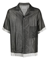 dunkelgraues vertikal gestreiftes Kurzarmhemd von Maison Margiela