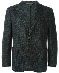dunkelgraues Wollsakko mit Hahnentritt-Muster