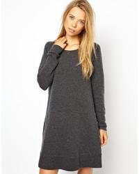 Dunkelgraues Wollschwingendes kleid von Madeleine Thompson