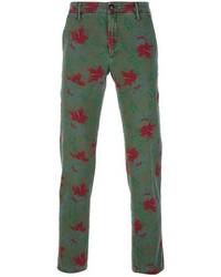 dunkelgrüne Anzughose mit Blumenmuster