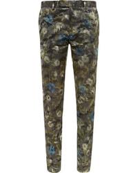 dunkelgrüne Anzughose mit Blumenmuster von Valentino