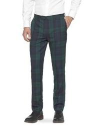 dunkelgrüne Anzughose mit Schottenmuster