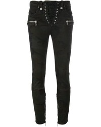 dunkelgrüne enge Jeans aus Baumwolle