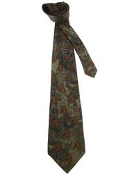 dunkelgrüne bedruckte Krawatte von Gianfranco Ferre