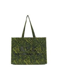 dunkelgrüne bedruckte Shopper Tasche aus Segeltuch von A.P.C.