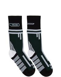 dunkelgrüne bedruckte Socken von Prada