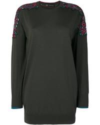 dunkelgrüne bestickte Bluse von Versace