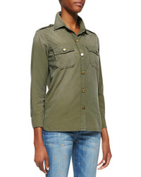 dunkelgrüne Bluse mit Knöpfen