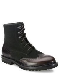 dunkelgrüne Brogue Stiefel aus Leder