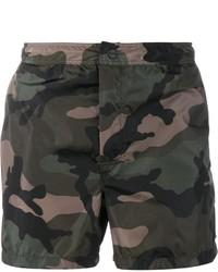 dunkelgrüne Camouflage Badeshorts von Valentino