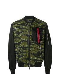 dunkelgrüne Camouflage Bomberjacke von DSQUARED2