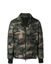 dunkelgrüne Camouflage Daunenjacke von Valentino