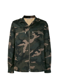 dunkelgrüne Camouflage Militärjacke von Valentino