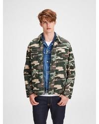 dunkelgrüne Camouflage Shirtjacke von Jack & Jones