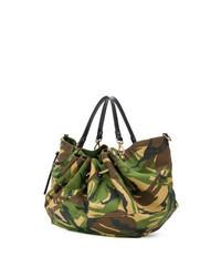 dunkelgrüne Camouflage Shopper Tasche aus Segeltuch