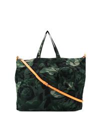 dunkelgrüne Camouflage Shopper Tasche aus Segeltuch von Alexander McQueen