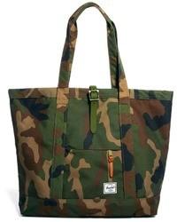 dunkelgrüne Camouflage Shopper Tasche aus Segeltuch von Herschel