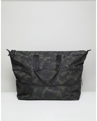 dunkelgrüne Camouflage Shopper Tasche aus Segeltuch von Hugo