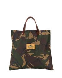 dunkelgrüne Camouflage Shopper Tasche aus Segeltuch von Junya Watanabe MAN