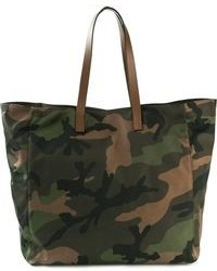 dunkelgrüne Camouflage Shopper Tasche aus Segeltuch von Valentino Garavani