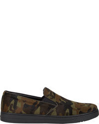 dunkelgrüne Camouflage Slip-On Sneakers aus Segeltuch