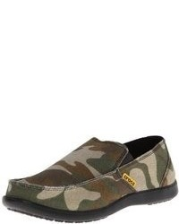 dunkelgrüne Camouflage Slip-On Sneakers