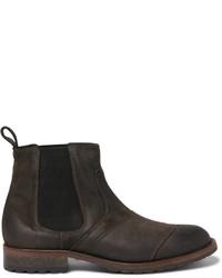 dunkelgrüne Chelsea-Stiefel aus Wildleder von Belstaff