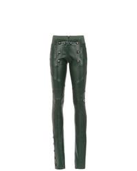 dunkelgrüne enge Hose aus Leder