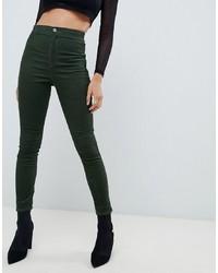 dunkelgrüne enge Jeans von ASOS DESIGN
