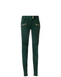 dunkelgrüne enge Jeans von Balmain