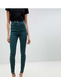 dunkelgrüne enge Jeans