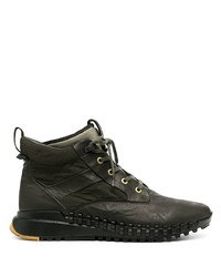 dunkelgrüne hohe Sneakers aus Leder von Stone Island