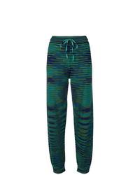 dunkelgrüne horizontal gestreifte Jogginghose von M Missoni