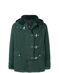 dunkelgrüne Jacke mit einer Kentkragen und Knöpfen von Fay