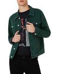 dunkelgrüne Jeansjacke