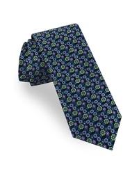 dunkelgrüne Krawatte mit Blumenmuster