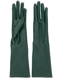 dunkelgrüne lange Handschuhe von Stella McCartney