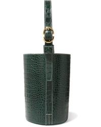 dunkelgrüne Leder Beuteltasche von Trademark