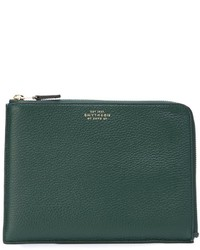 dunkelgrüne Leder Clutch Handtasche