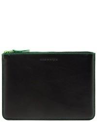 dunkelgrüne Leder Clutch von Comme des Garcons