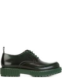 dunkelgrüne Leder Oxford Schuhe von Valentino
