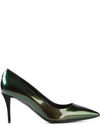 dunkelgrüne Leder Pumps von Giuseppe Zanotti