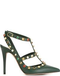 dunkelgrüne Leder Pumps von Valentino Garavani