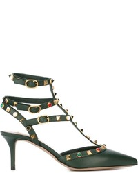dunkelgrüne Leder Pumps von Valentino