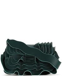 dunkelgrüne Leder Umhängetasche von Fendi