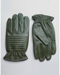 dunkelgrüne Lederhandschuhe
