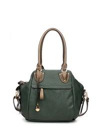 dunkelgrüne Lederhandtasche